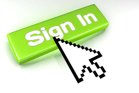 Rendered graphic showing 3D sign in button with mouse cursor over.