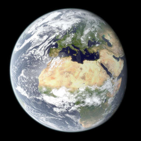 High resolution 3D rendering of planet Earth with atmospheric glow effect. Image is centered on Europe and Africa. Textures NASA. Stock Photo