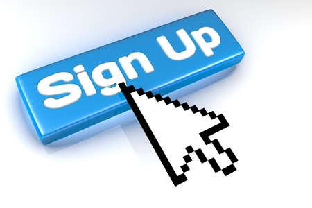 signup: Rendered graphic showing 3D sign up button with mouse cursor over.
