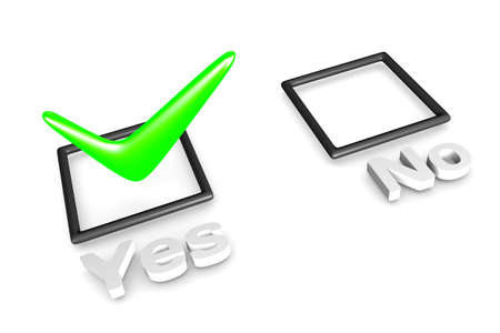 3D rendering of YesNo voting concept. Marked as Yes. Stock Photo