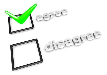3D rendering of AgreeDisagree decision concept.  Stock Photo