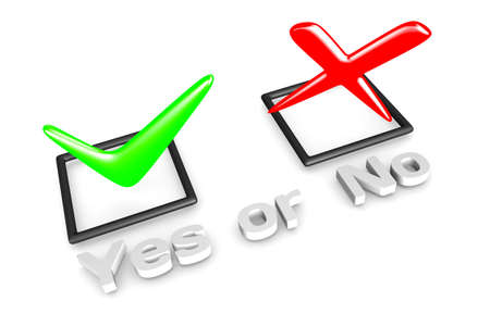 3D rendering of YesNo voting concept.  Stock Photo