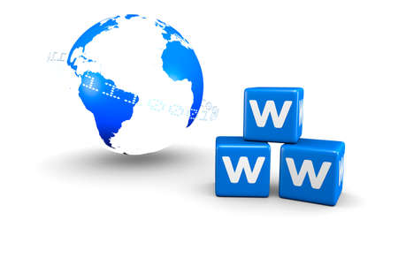 World globe and World Wide Web blue boxes. A 3D rendered concept.