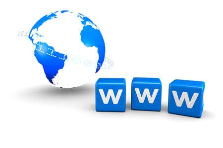 worldwide web: Representaci�n 3D del mundo mundial y cuadros azules de World Wide Web.