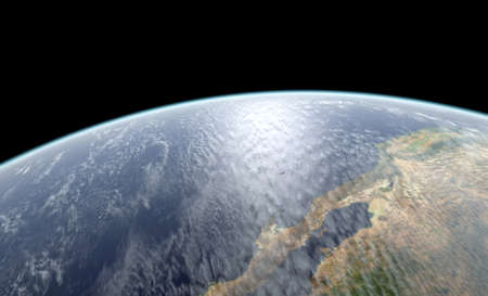 Close-up 3D rendering of Earth globe. Textures NASA.