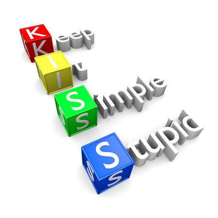Keep It Simple Stupid acronym, KISS text 3D concept rendering.