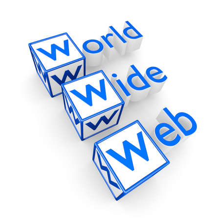 3D rendering of World Wide Web boxes with text.