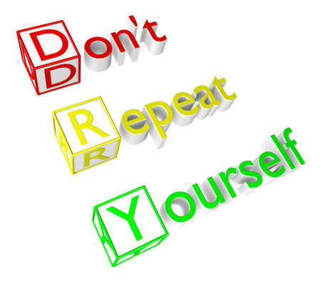 Dont Repeat Yourself acronym. A 3D rendering over white background. Stock Photo