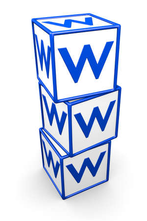 World Wide Web boxes over white background. Its a 3D rendering ilustration.