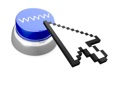 World Wide Web abstract button with 3D mouse cursor. Its a rendering illustration. Stock Photo