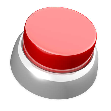 Red button over white background. Its a 3D rendering.