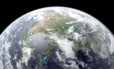 3D rendering of Earth globe showing North America. Textures NASA. Stock Photo