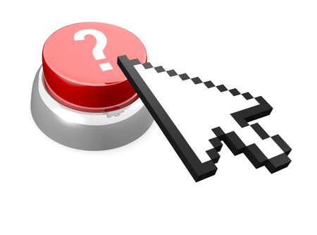 Red button with question mark and computer mouse cursor icon. It Stock Photo