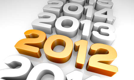 New Year 2012. A 3D rendering concept.
