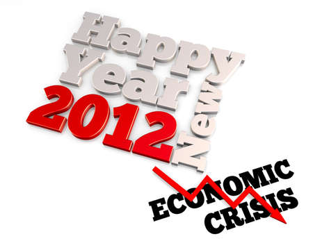 Economic cirsis and year 2012. 3D abstract concept rendering.