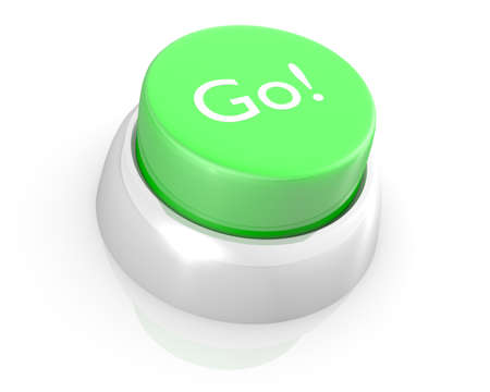 3D rendering of green GO push button. Stock Photo