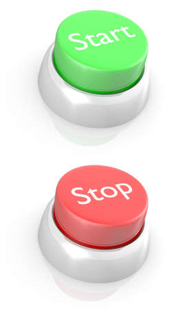 3D rendering of START and STOP buttons. Stock Photo