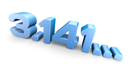 PI number 3D rendering over white background. Stock Photo