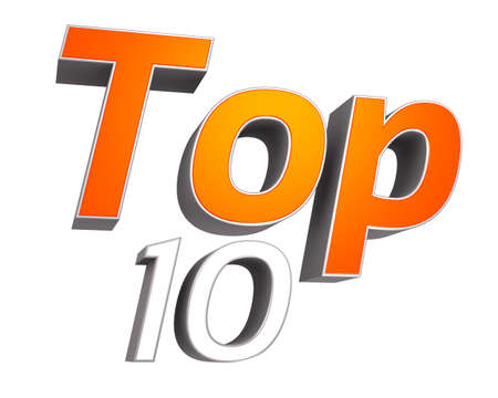 3D rendering of TOP 10 text e g  top ten products, items, songs etc