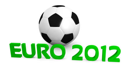 2012 UEFA European Football Championship in Poland Ukraine concept  3D rendering of football ball and euro 2012 text
