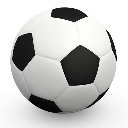 3D high resolution rendering of football ball over white background