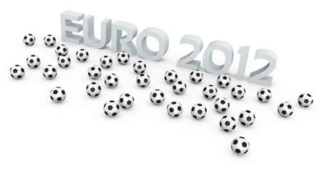 Football balls and EURO 2012 text  A 3D rendering concept