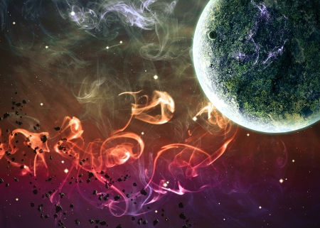 Planet over the nebulae in space. Stock Photo
