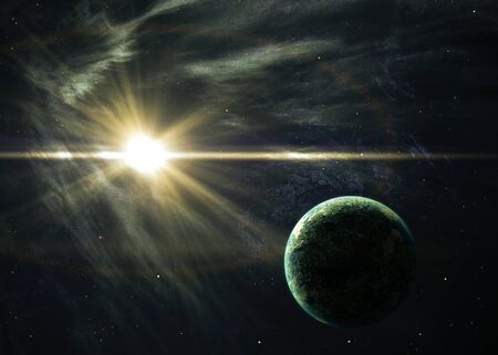 shining star: Planet with the shining star in space