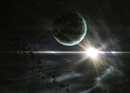 Planet with the shining star in space