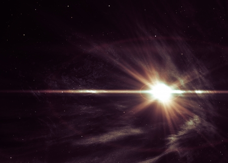 Background with the shining star in space
