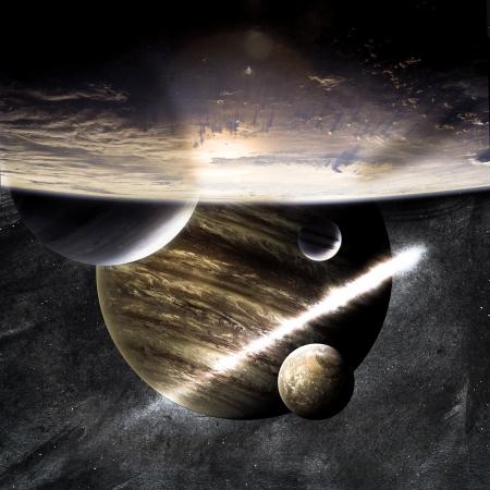 Planety nad mlhoviny ve vesmíru Reklamní fotografie
