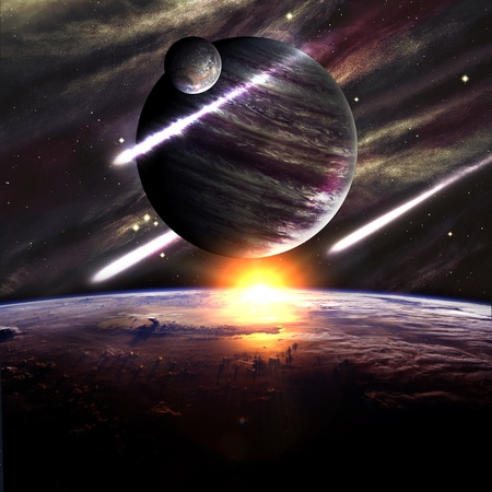 Planets over the nebulae in space with comets Stock Photo