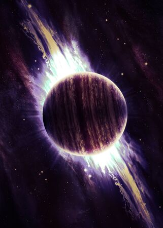 nebulae: Planet over the nebulae in space