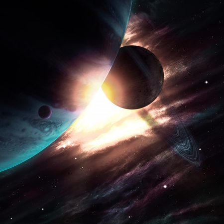 Planets over the nebulae in space Stock Photo