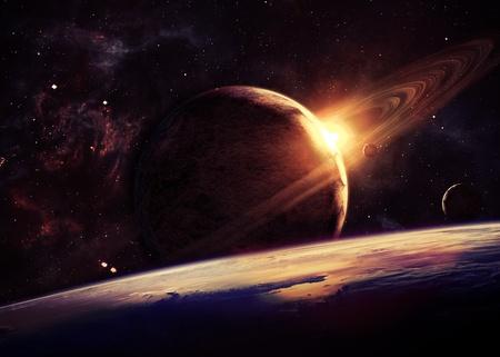 Planeten over de nevels in de ruimte