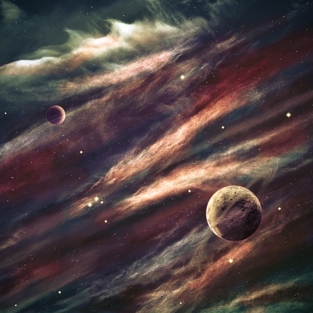nebulae: Planets over the nebulae in space Stock Photo
