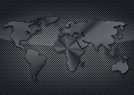 terra: Cool carbon map of the world on the carbon background Stock Photo