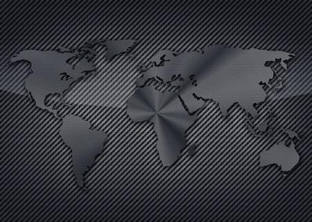 Cool uhlík mapa světa na uhlíkové pozadí Reklamní fotografie
