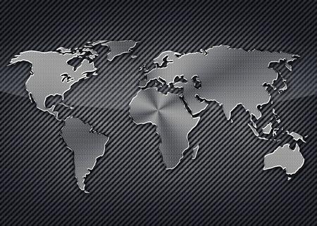 carbon fiber: Mapa Frío metálico del mundo en el fondo de carbono Foto de archivo