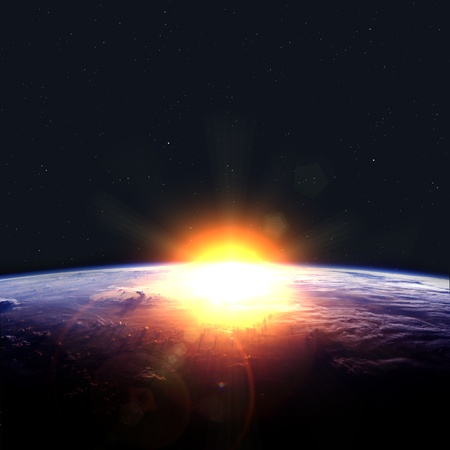 Earth with rising sun. Elements of this image furnished by NASA Stock Photo
