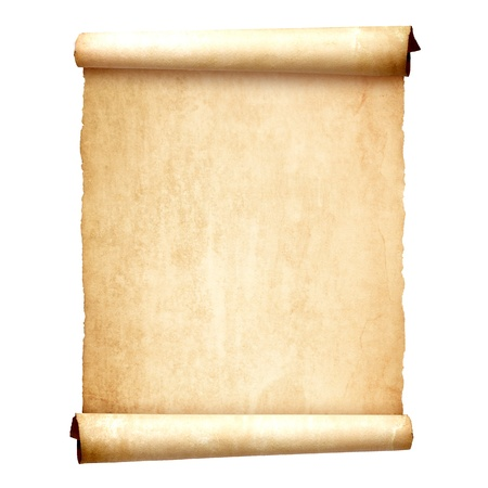 ancient papyrus: Old vintage scroll isolated on white background