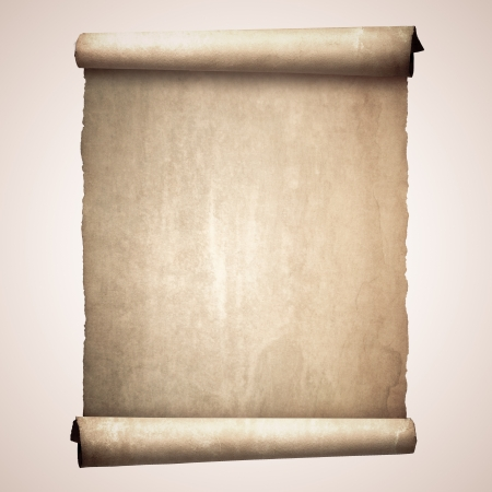 Old vintage scroll isolated on white background photo