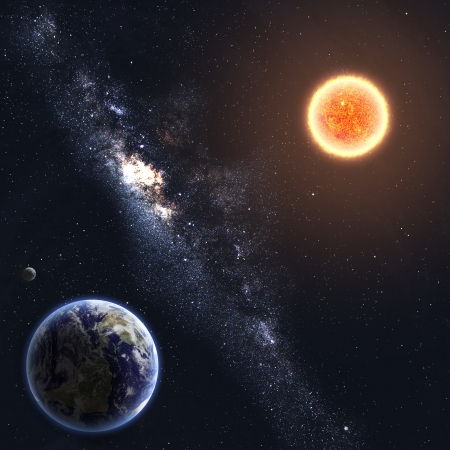 Earth and Sun. Elements of this image furnished by NASA Stock Photo