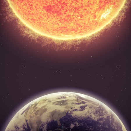 outer space: Earth and Sun