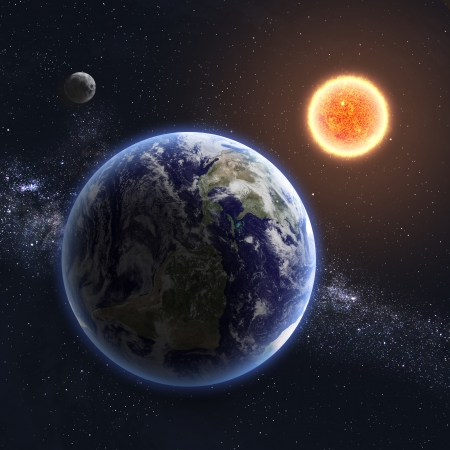 greenhouse effect: Earth and Sun.  Stock Photo