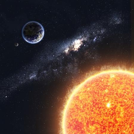 kassen: Aarde en zon Stockfoto