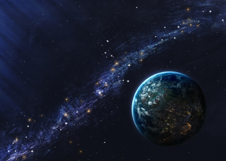 illustrated globes: Beautiful space background. Stock Photo