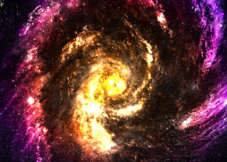 somewhere: Incredibly beautiful spiral galaxy somewhere in deep space