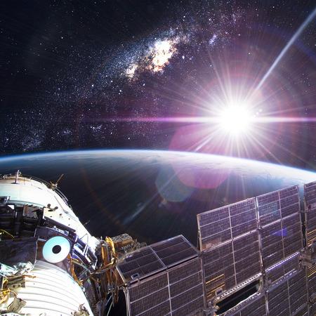 orbital spacecraft: Space Station Orbiting Earth Stock Photo