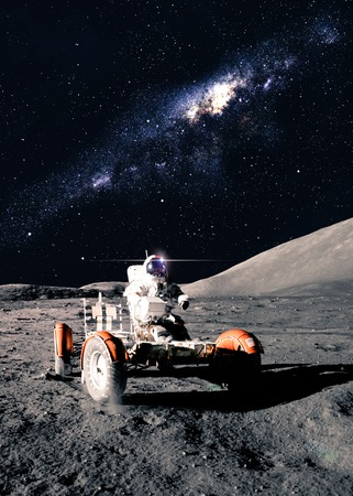 Astronaut Drives Rover 写真素材